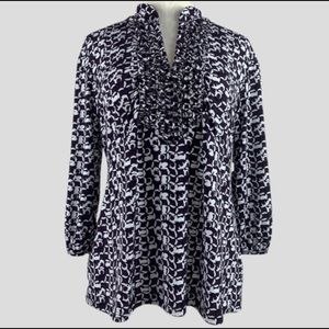 Style & Co Purple & White Tunic With Ruffle Front